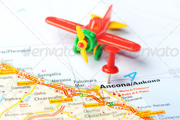 ancona italy map airplane - PhotoDune Item for Sale
