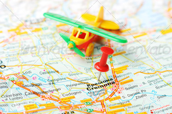 kremona italy map airplane - PhotoDune Item for Sale