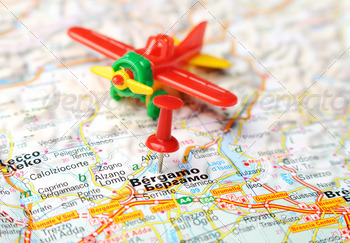 bergamo italy map airplane - PhotoDune Item for Sale