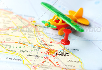 lecce italy map airplane - PhotoDune Item for Sale