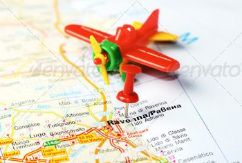 ravenna italy map airplane - PhotoDune Item for Sale