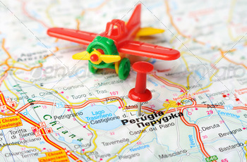 perugia italy map airplane - PhotoDune Item for Sale