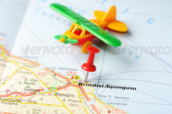 brindisi italy map airplane - PhotoDune Item for Sale