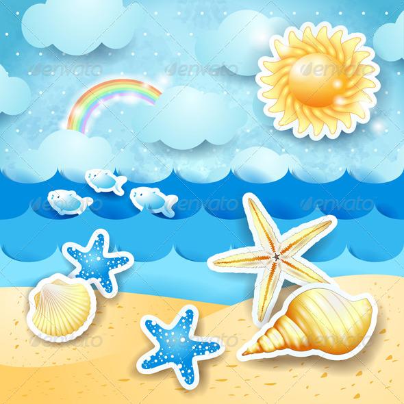GraphicRiver Seascape with Sun and Seashells 8433542