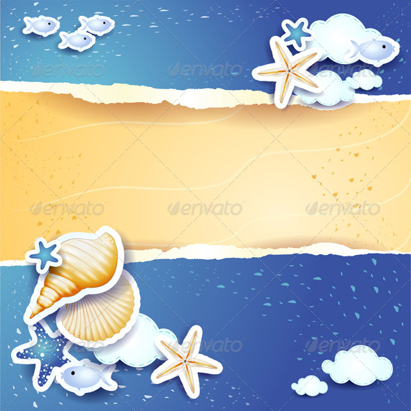 GraphicRiver Holidays Background with Sea and Sand 8433649