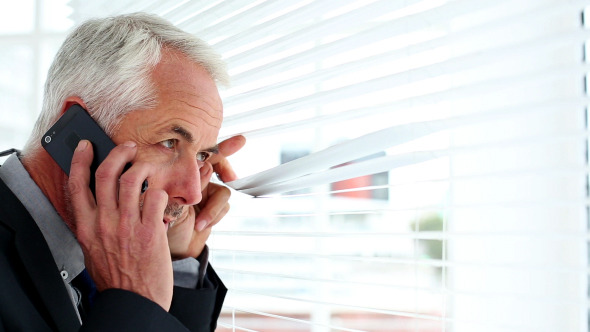 Businessman Spying Through Blinds 2