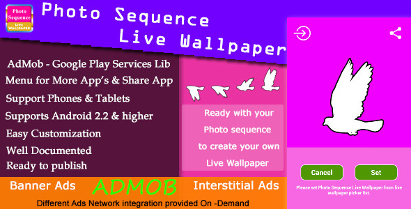 Download Photo Sequence Live Wallpaper with AdMob nulled download
