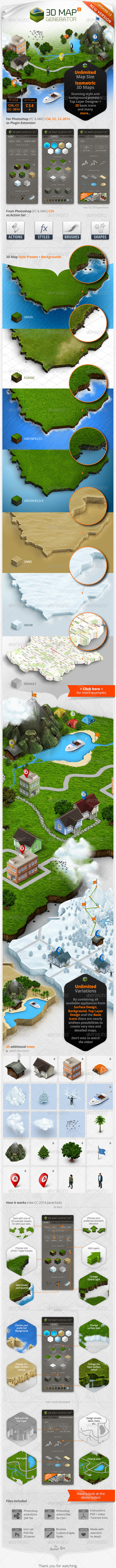 3D Map Generator 2 - Isometric - Actions Photoshop