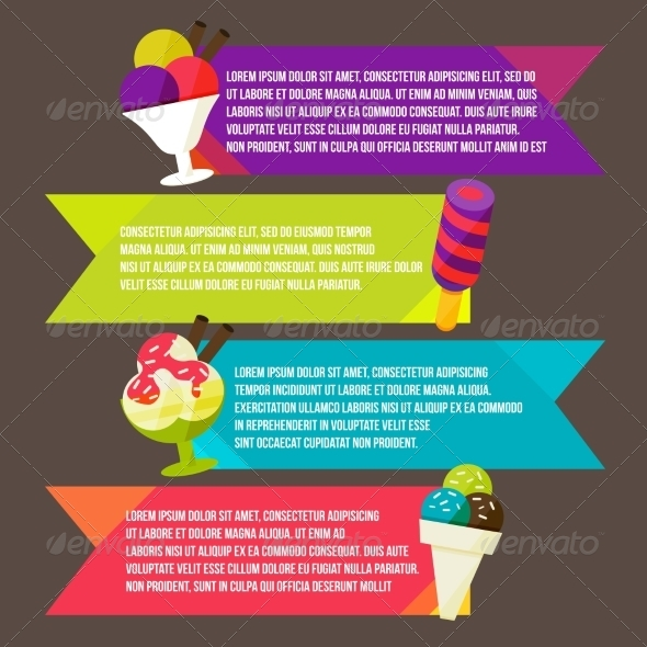 GraphicRiver Decorative Ice Cream Paper Banners Set 8434158