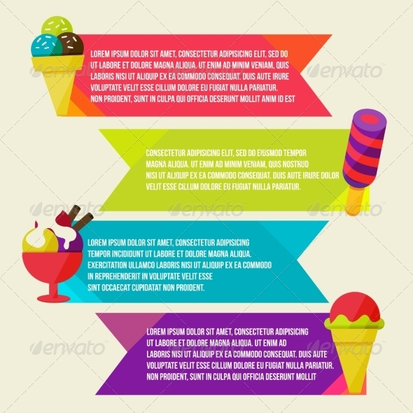 GraphicRiver Decorative Ice Cream Paper Banners Set 8434163