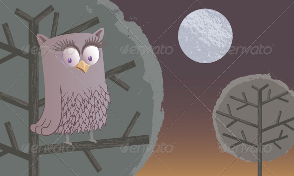 GraphicRiver The Owl and the Moon 8434195