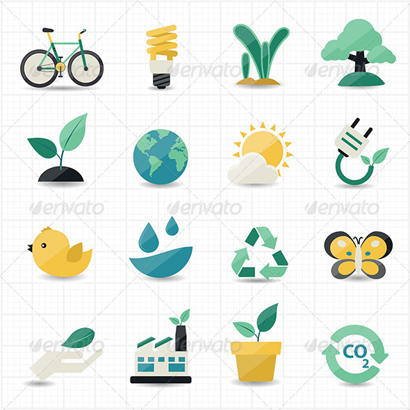 GraphicRiver Environment and Green Icons 8434333