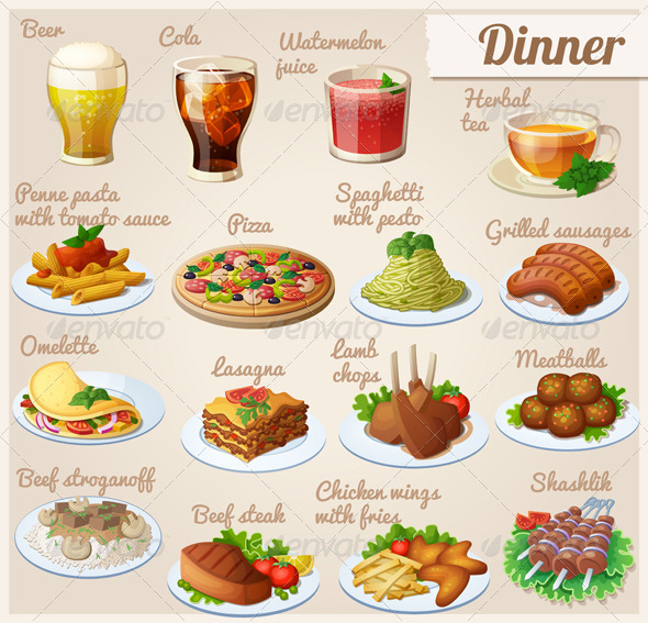 GraphicRiver Set of Different Food Icons 8432848