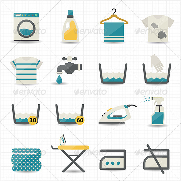 GraphicRiver Laundry and Washing Icons 8434510