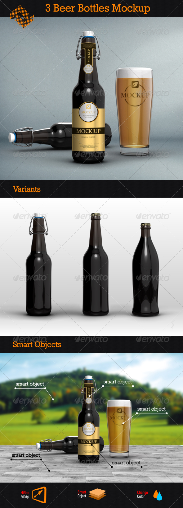 GraphicRiver 3 Beer Bottles Mockups 8434563