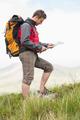 Handsome hiker with backpack walking uphill reading a map in the countryside