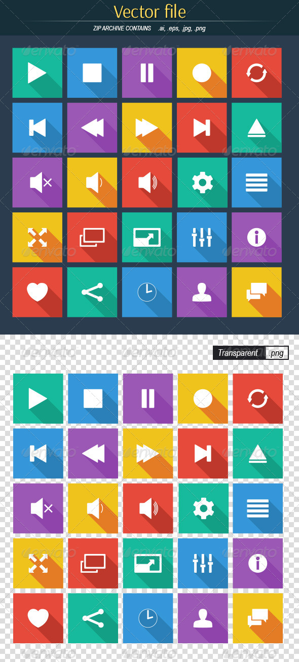 GraphicRiver Media Player Flat Icons 8434787