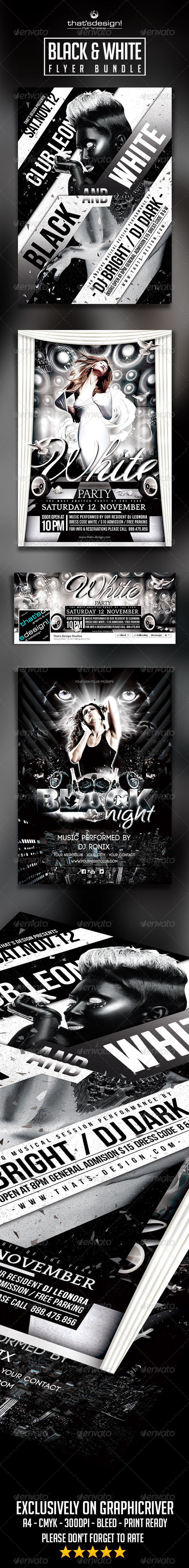 GraphicRiver Black and White Party Flyer Bundle 8435068