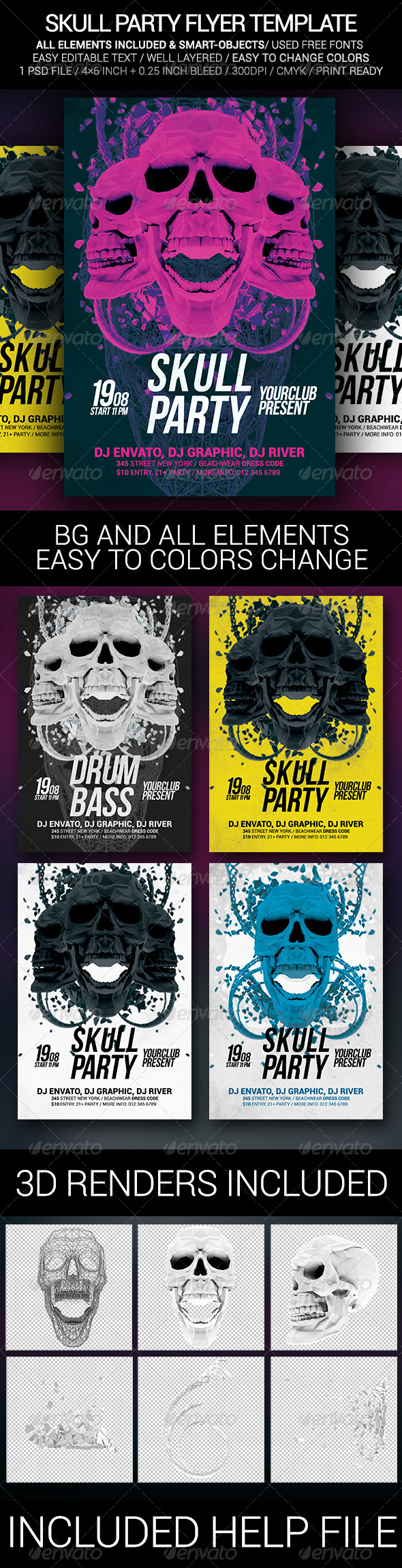 GraphicRiver Skull Party Poster Template 8435072