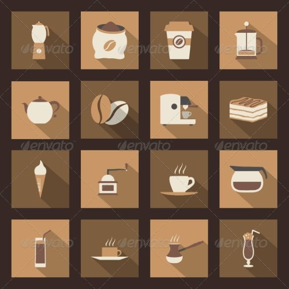GraphicRiver Coffee Flat Icons Set 8435917