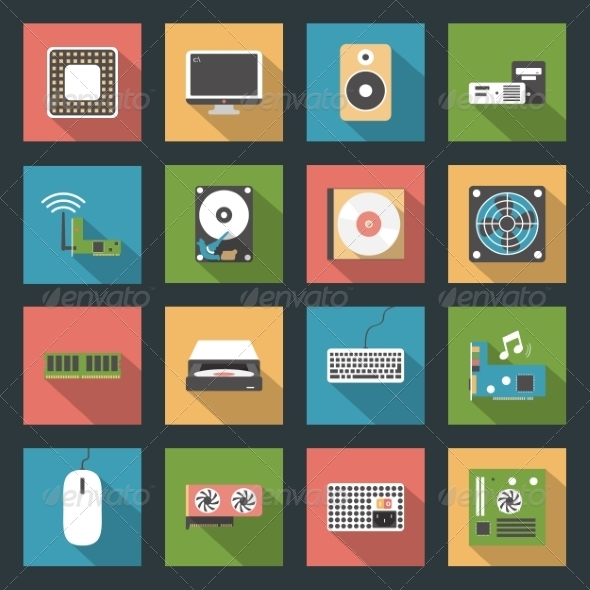 GraphicRiver Computer Peripherals and Parts Flat Icons Set 8435918