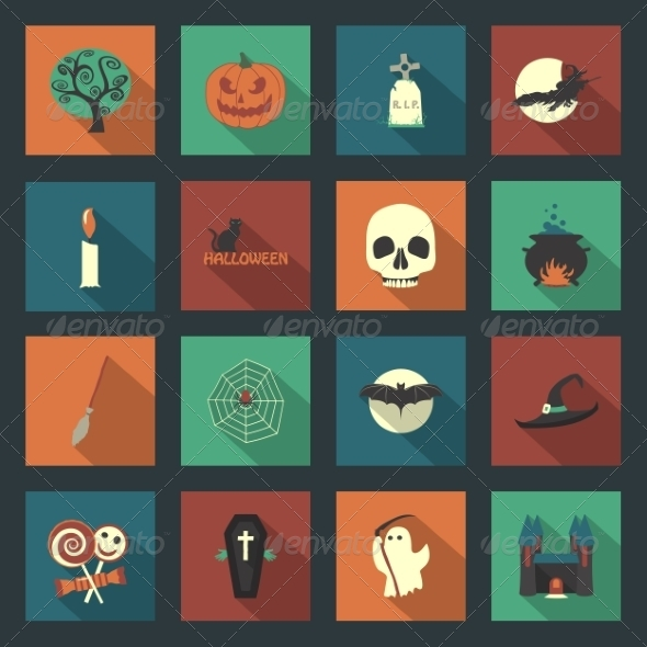 GraphicRiver Halloween Flat Icons Set 8435922