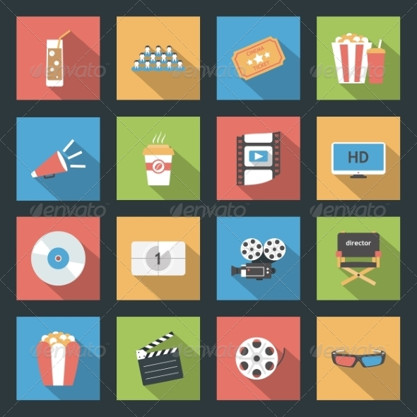 GraphicRiver Cinema Flat Icons Set 8435924