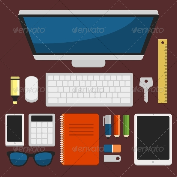 GraphicRiver Office Workplace Top View in Flat Design Vector 8436008