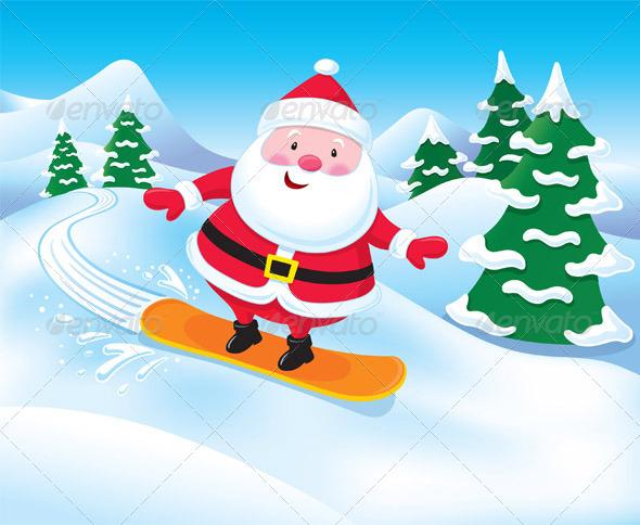 GraphicRiver Snowboarding Santa Claus 8436009