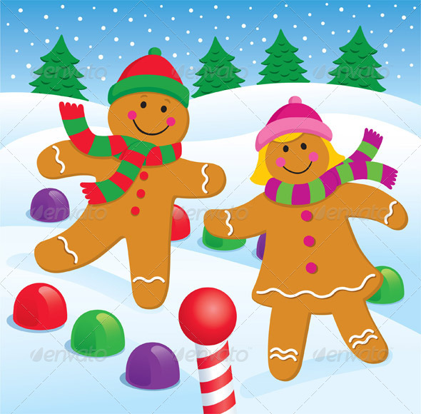 GraphicRiver Gingerbread Boy and Girl in the Snow 8436112