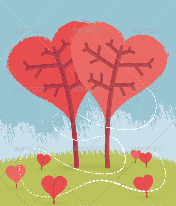 GraphicRiver Love Trees 8436131