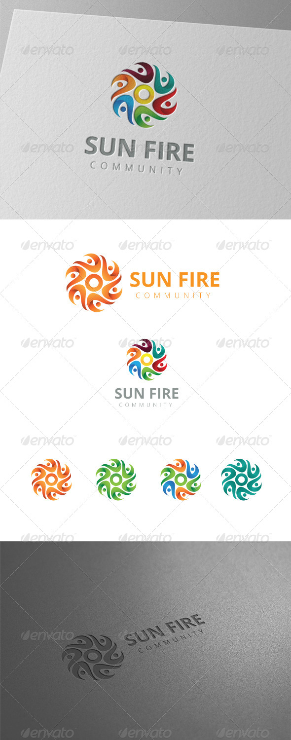 GraphicRiver Six Sun Fire People Community Logo 8436152