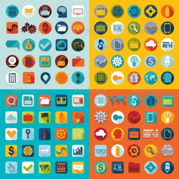 GraphicRiver Set of Flat Icons 8436717