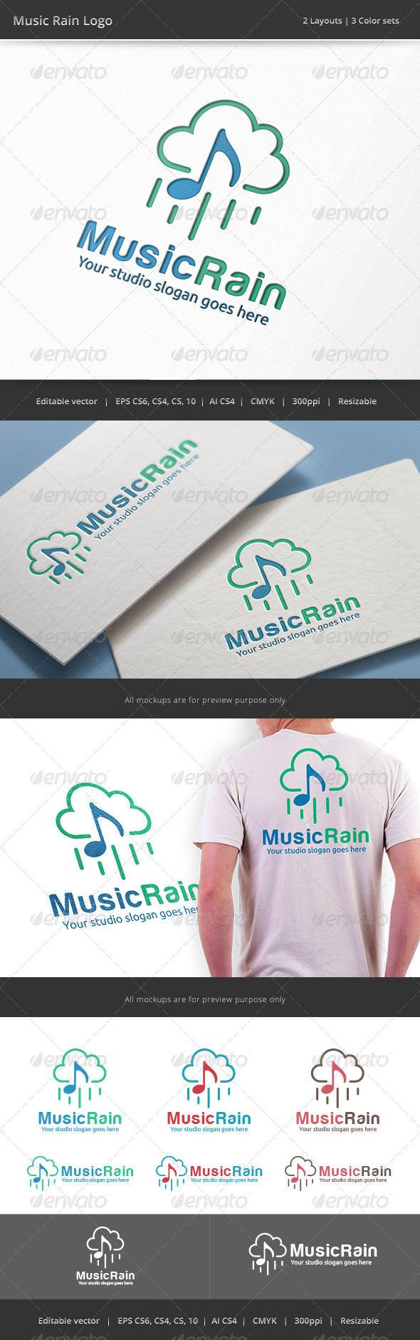 GraphicRiver Music Rain Logo 8436968