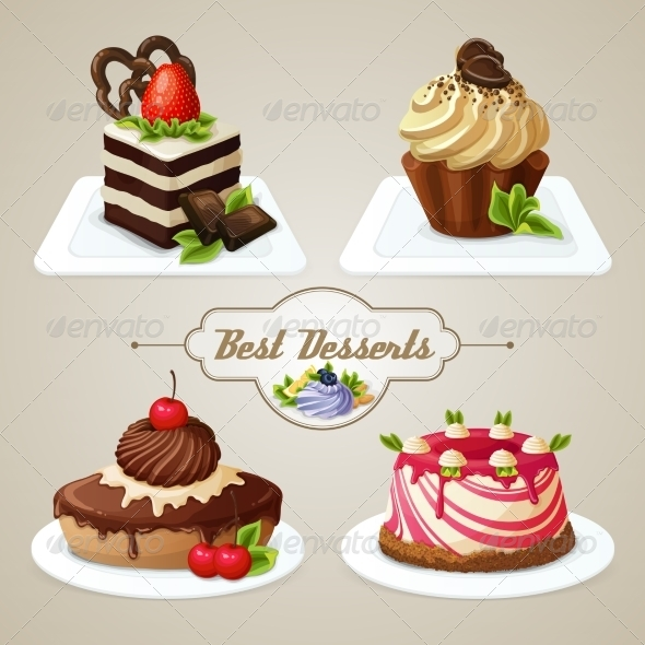 GraphicRiver Sweets Cakes Dessert Set 8436969