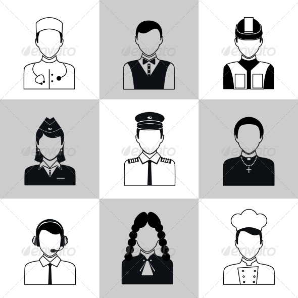 GraphicRiver Professions Avatar Icons Black Set 8436971