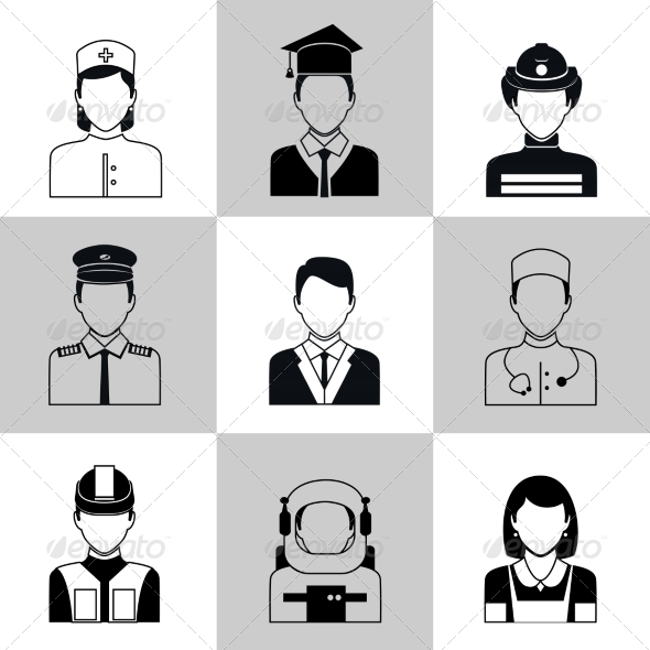 GraphicRiver Professions Avatar Icons Black Set 8436972