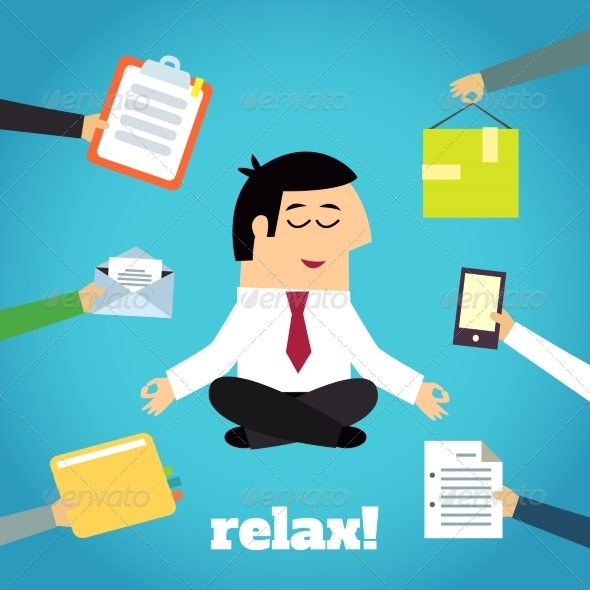 GraphicRiver Businessman Yoga Relaxing 8436977