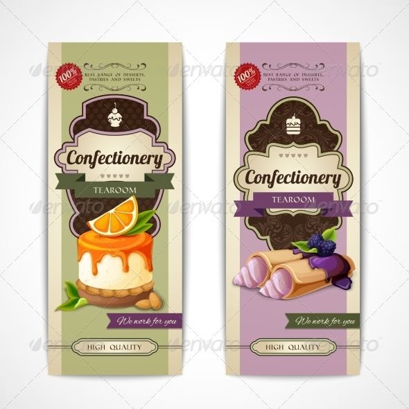 GraphicRiver Sweets Vintage Vertical Banners 8437027