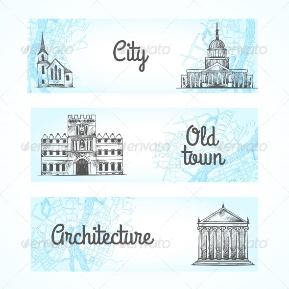 GraphicRiver Set of Banners with Buildings 8437032