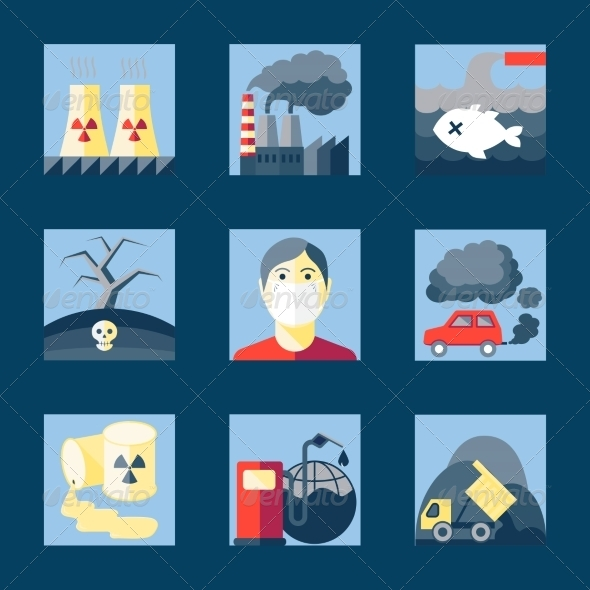GraphicRiver Set of Pollution Icons 8437033