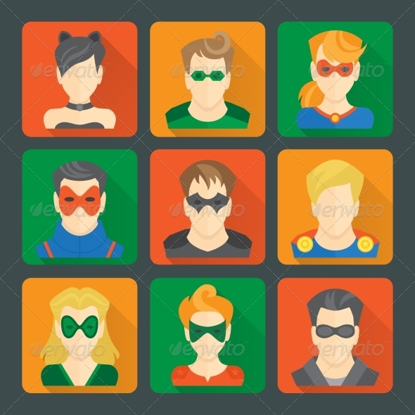 GraphicRiver Set of Superheroes Stickers 8437040