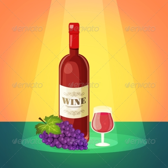 GraphicRiver Wine with Grapes Poster 8437044