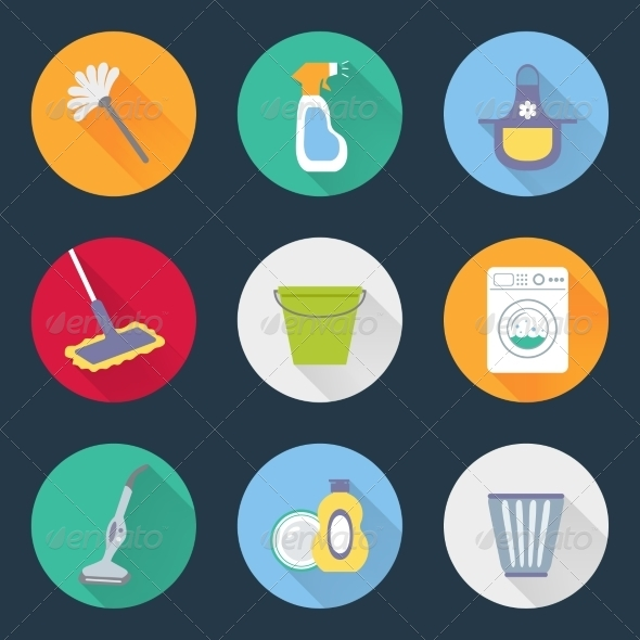 GraphicRiver Cleaning Icons 8437064