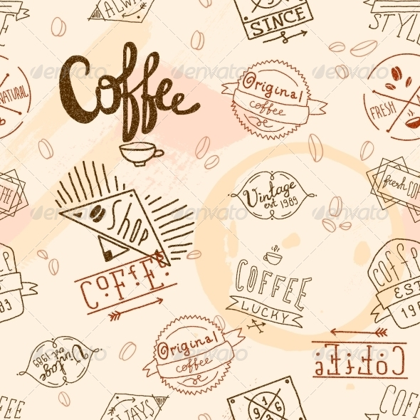 GraphicRiver Seamless Vintage Retro Coffee 8437101