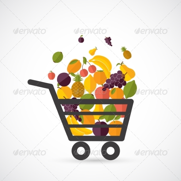 GraphicRiver Shopping Cart with Fruits 8437119