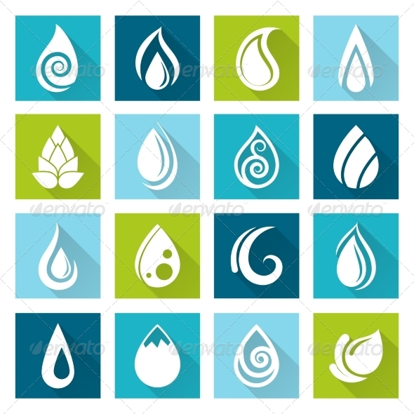 GraphicRiver Set of Water Drops Icons 8437142