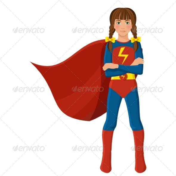 GraphicRiver Girl in Superhero Costume 8437256
