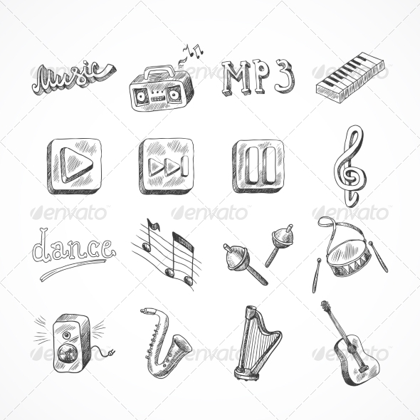 GraphicRiver Set of Music Icons 8437285