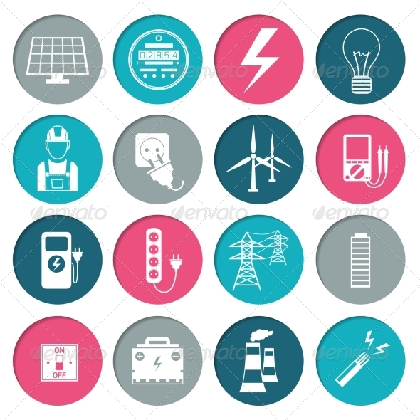 GraphicRiver Electricity Power Icons Set 8437306
